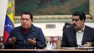 Hugo Chavez and Nicolas Maduro in Caracas (8 December 2012)