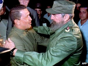 Hugo Chavez and Fidel Castro in Havana in 1994