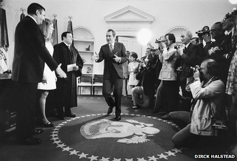 President Richard Nixon with press photographers, ca. 1969-1974. (Dirck Halstead Photographic Archive Dolph Briscoe Center for American History The University of Texas at Austin)