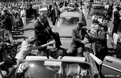 Presidential hopeful Senator John F Kennedy and his running mate, Senator Lyndon B Johnson, 1960 (Russell Lee Photograph Collection Dolph Briscoe Center for American History The University of Texas at Austin) 