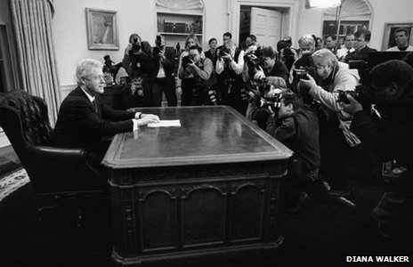 President Bill Clinton as he prepares for the final national television address of his administration (Diana H. Walker Photographic Archive Dolph Briscoe Center for American History The University of Texas at Austin)