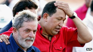 Hugo Chavez and Lula da Silva, March 2008