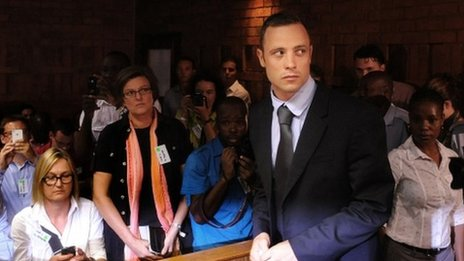 Oscar Pistorius in court as his bail ruling is revealed
