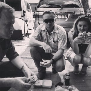 Andrew Harding, Stuart Phillips and Kate Forbes get used to the street life