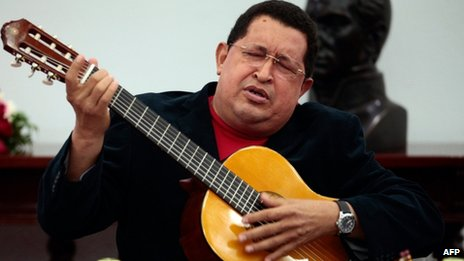 Hugo Chavez playing his guitar