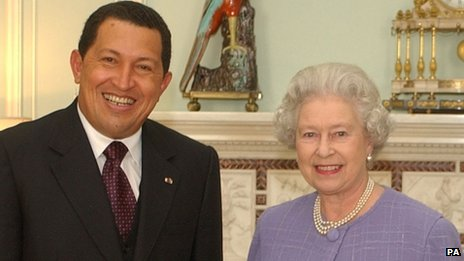 Hugo Chavez and the Queen.