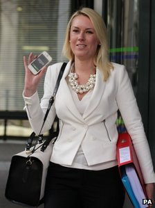 Stella English arriving at tribunal