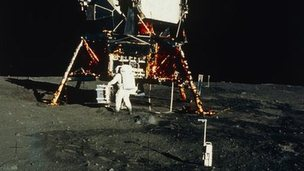 Buzz Aldrin with the lunar landing module in 1969