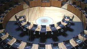 Senedd debating chamber