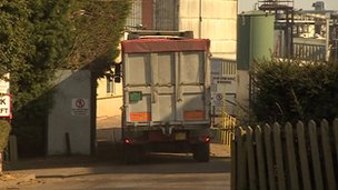 A lorry enters the factory in Market Harborough