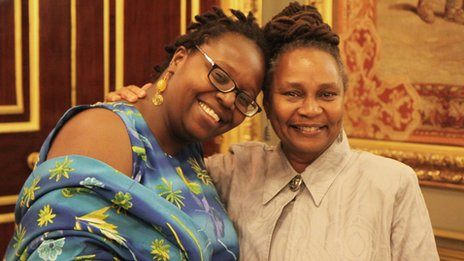 Angella Emurwon and Janet Morrisson at the winners' ceremony in London
