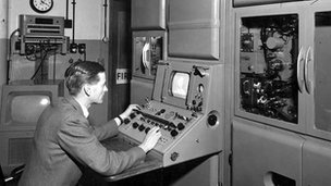 Bill Tucker at work at the BBC in 1955
