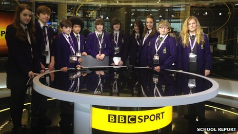 Denton Community College School Reporters at MediaCity Sports Studio