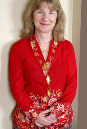 Judith Kampfner wearing kebaya top