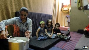 Internally displaced family living in the Syrian capital, Damascus