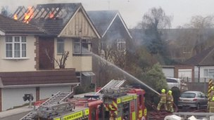 The fire at the property in Linchfield Road, Datchet