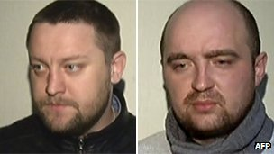 Yuri Zarutsky (left) and Andrei Lipatov, after their arrest and alleged confession for the acid attack on Bolshoi artistic director Sergei Filin