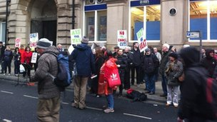 Protesters outside Liverpool Town Hall
