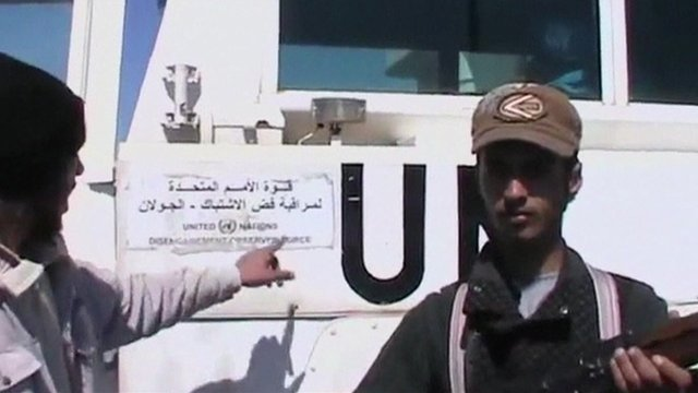 Still from video posted on internet by men claiming to be Syrian rebels