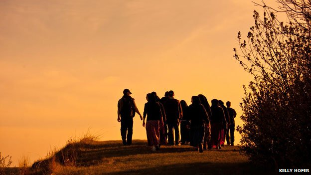 Members of the Hutterite community walking