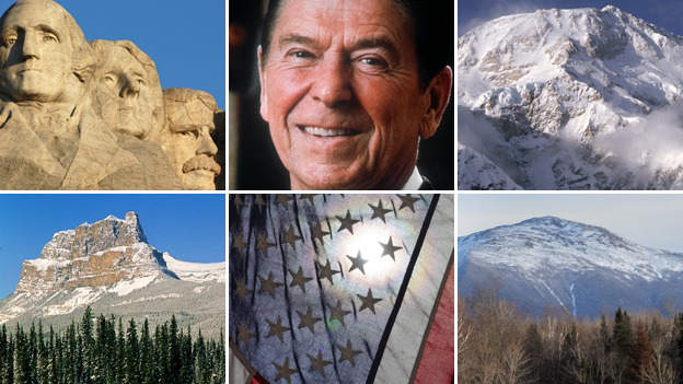 Mount Rushmore, Ronald Reagan, Mount McKinley, the Presidential Range, US flag, Castle Mountain (formerly Mount Eisenhower)