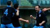 Luke Watson celebrates Jersey's second goal