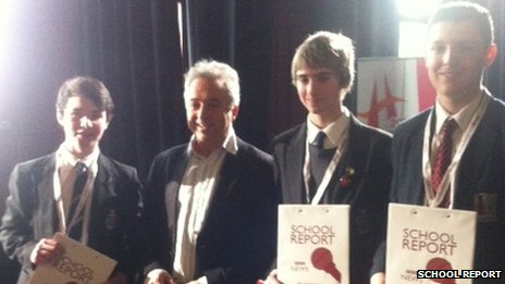School Reporters (l to r) Kane, Peter and Daniel with Frank Cottrell Boyce
