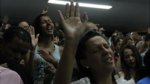 Evangelicals at a service in Brazil