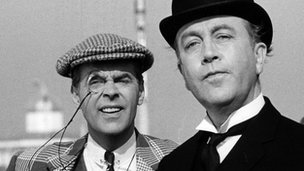 Ian Carmichael and Dennis Price in a 1965 scene from the BBC's The World of Wooster