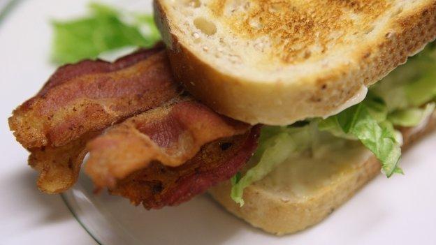 Bacon sandwich on a plate
