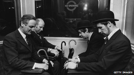 London commuters in the 1970s