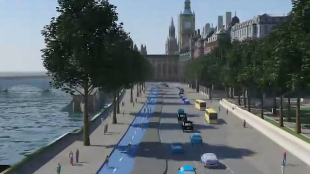 Artist&#039;s impression of dedicated cycle lane