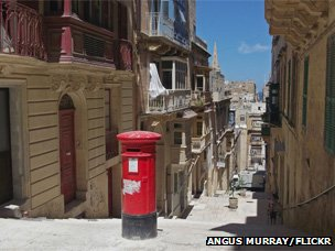 Red postbox in Malta