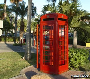 red phone box in Caribbean