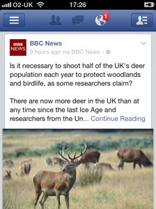 Screengrab of BBC News feed on Facebook