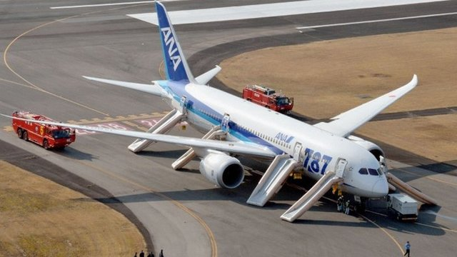 ANA Boeing 787 Dreamliner after making emergency landing