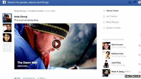 Screenshot of Facebook in 2013