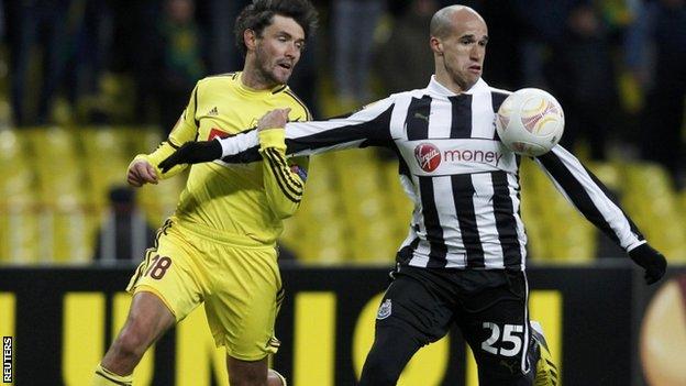 "Anzhi Makhachkala""s Yuri Zhirkov (L) with Newcastle United""s Gabriel Obertan"