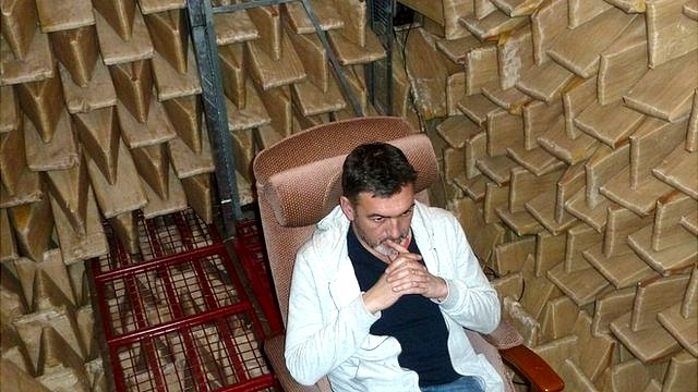 Inside an anechoic chamber