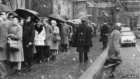 Mourners queue to pay respects to Sir Winston Churchill in 1965