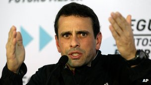 Henrique Capriles at a news conference in Caracas in January 2013