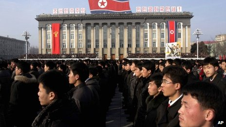 North Koreans rally in support of their government in Pyongyang. Photo: 7 March 2013