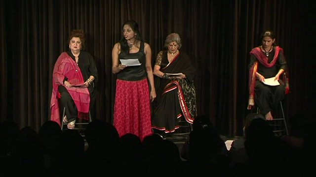 The cast of The Vagina Monologues performing