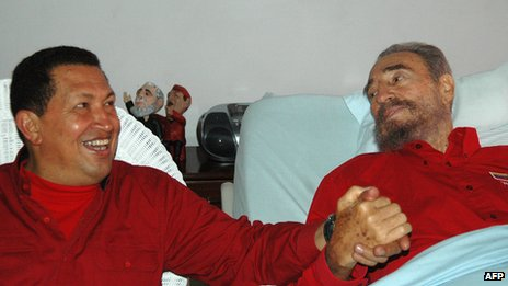 File photo of Hugo Chavez and Fidel Castro (13 August 2013)