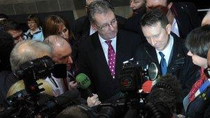 Mike Nesbitt, Nigel Lutton and Arlene Foster speak to journalists