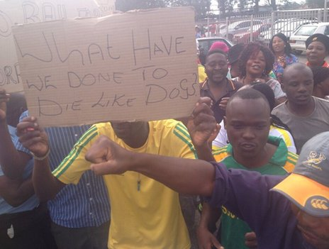 """What have we done to die like dogs?"" - demonstrators outside Benoni magistrate's court, South Africa, 8 March"