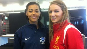 Liverpool's Gemma Bonner and Everton's Fern Whelan
