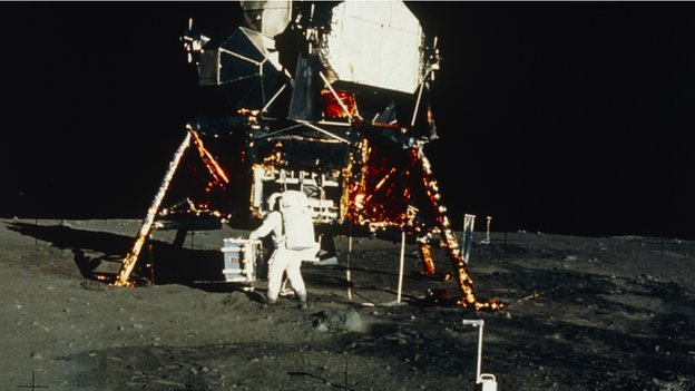 Buzz Aldrin with the lunar landing module 1969