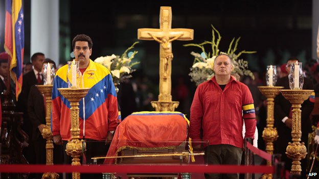 The coffin of Hugo Chavez