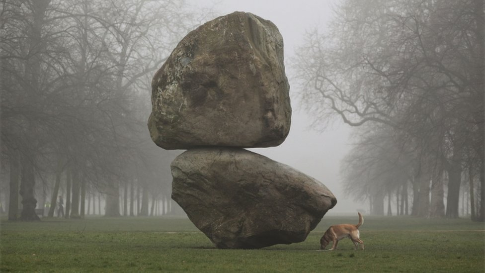 Rock on Top of Another Rock by the artist duo Fischli/Weiss at the Serpentine Gallery in Hyde Park, London